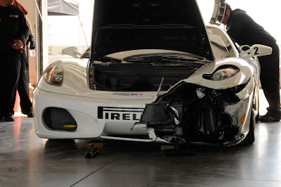Crashed White Ferrari 599XX Smashed Accident