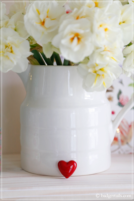 White Narcissus in Milk Jug with Heart