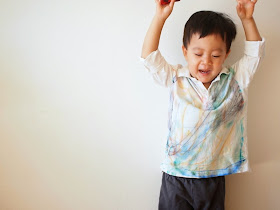 Watercolor like Sharpie Tie Dyed Shirt made by toddler
