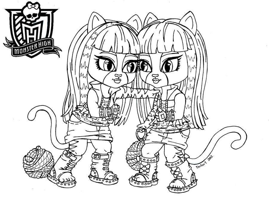 Monster High as Babies Coloring Pages