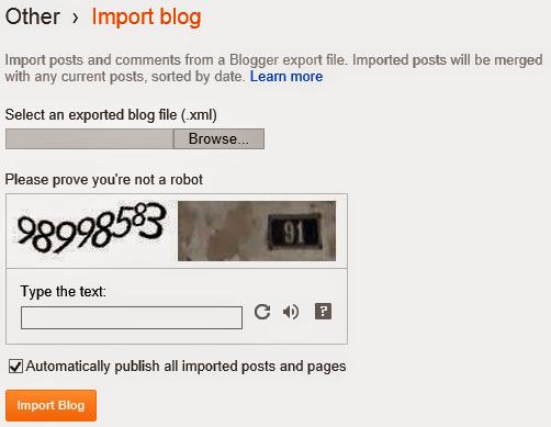 Restore XML Document into Blogger Blog