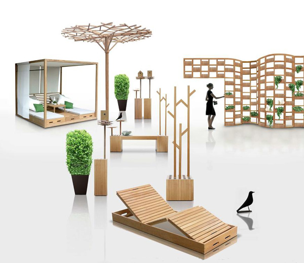 Mobiliario deco mobiliario para jard n de madera estilo for Mobiliario de jardin de madera