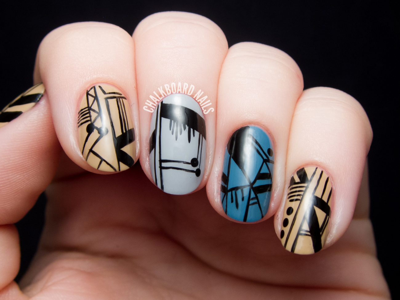 Spifster Inspired Fine Linework Nail Art by @chalkboardnails