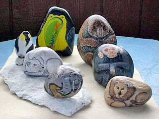 painted rocks, rock painting, wild animals, critters, Cindy Thomas