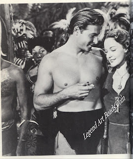 Famous diamonds are often featured in motion pictures. Here Jane, played by Dorothy Hart, wears the Transvaal Diamond, a 68-carat champagne-colored stone, in Tarzan's Savage Fury. Lex Barker plays Tarzan.