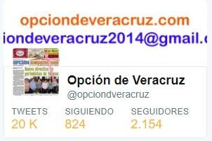 Síguenos en twitter @opciondveracruz