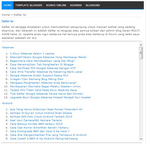 Daftar Isi Sederhana Untuk Blog