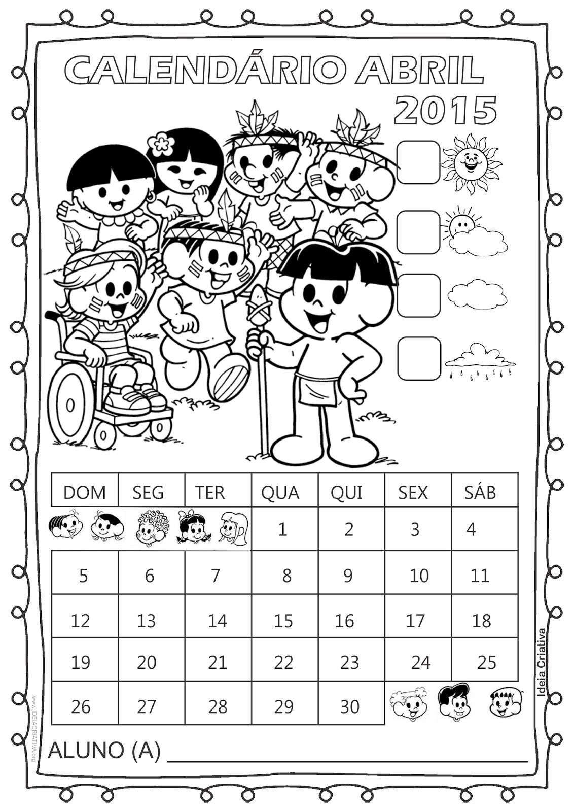 Calendário Turma da Mônica 2015 para Imprimir Grátis Abril dia do Índio