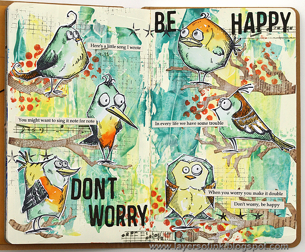 Layers of ink - Be Happy Journal Page by Anna-Karin
