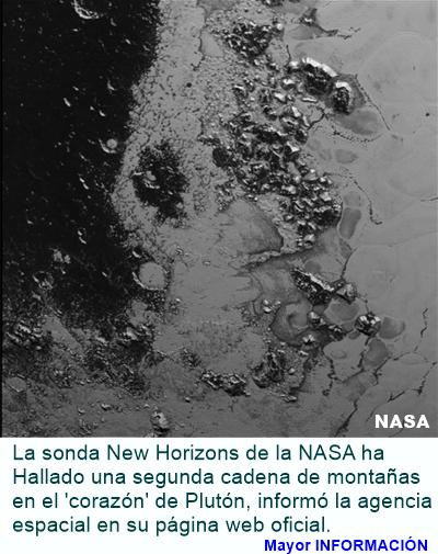 MUNDO: La NASA descubre una segunda cordillera en el 'corazón' de Plutón