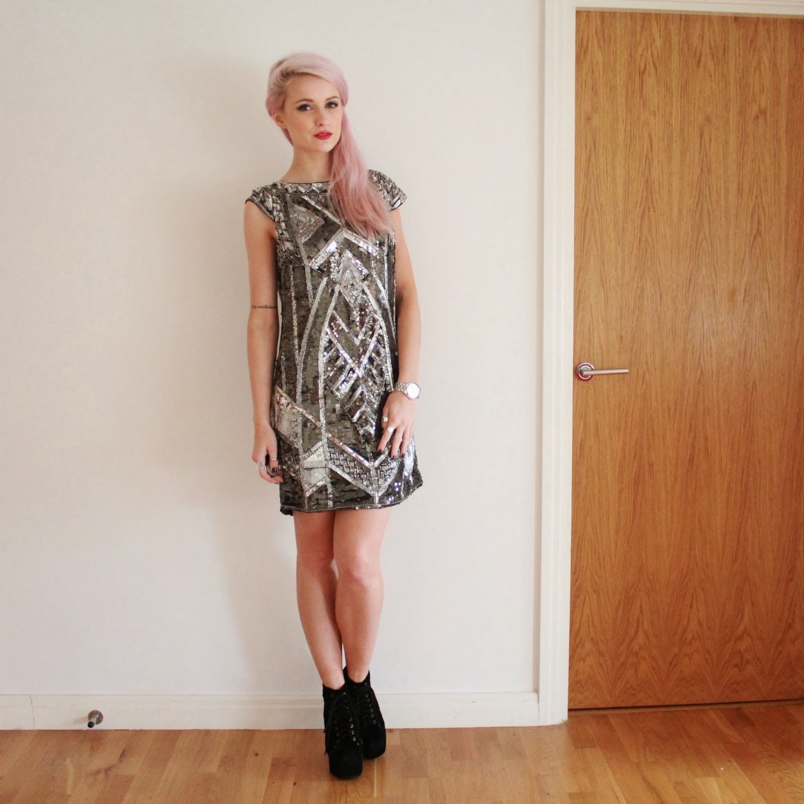 Little Mistress Heavily Embellished Short Sleeve Dress