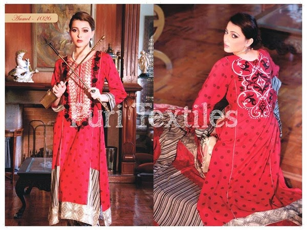 Puri Textiles New Winter Dresses Collection 2014 For Women And Girls