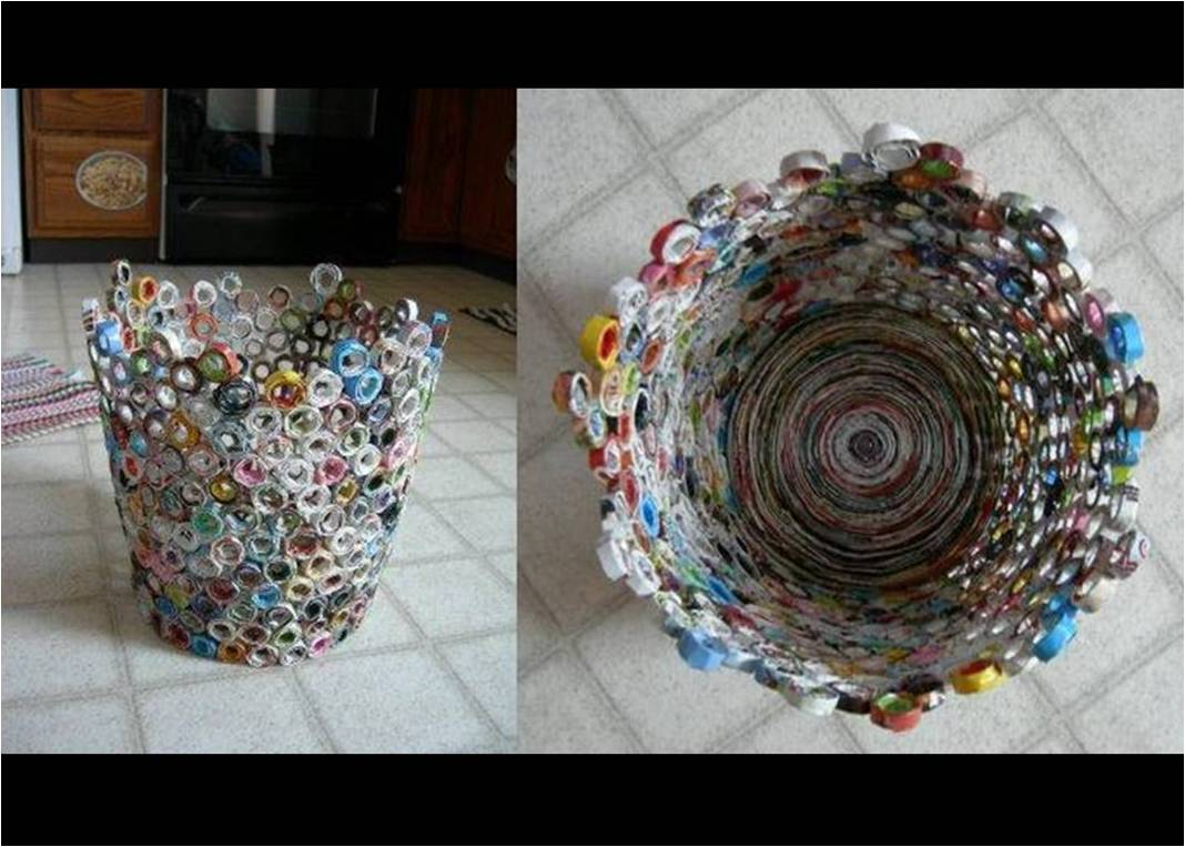 Educaci n ambiental - Hacer cestas con papel de periodico ...