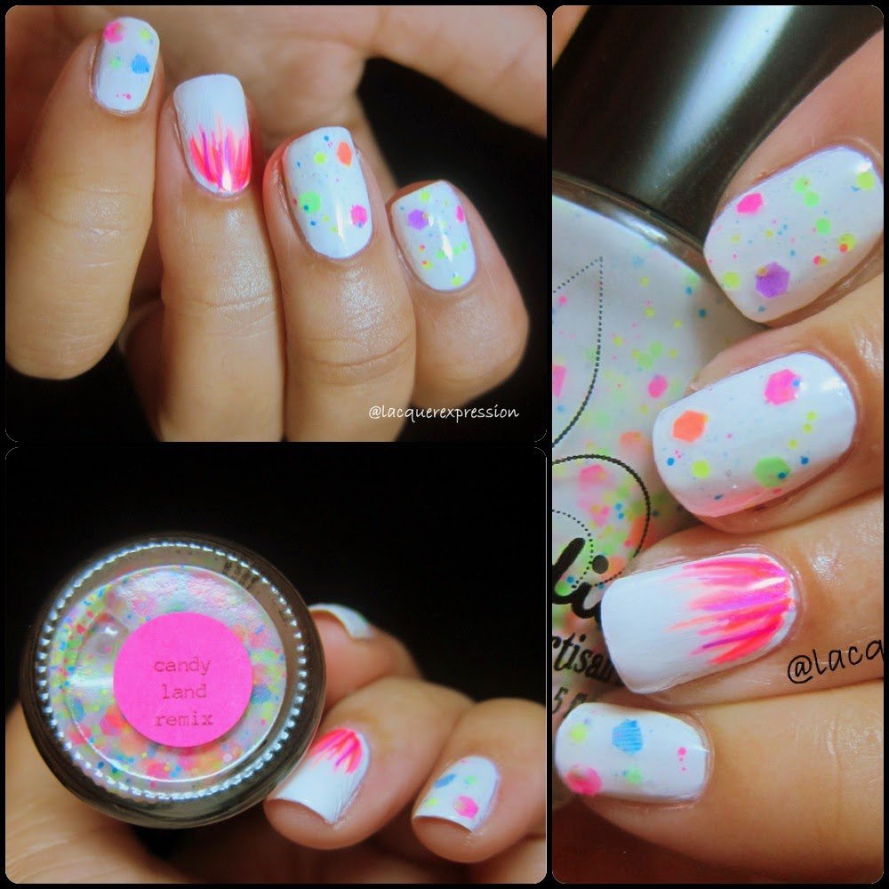 swatch of candy land remix nail polish by jindie nails