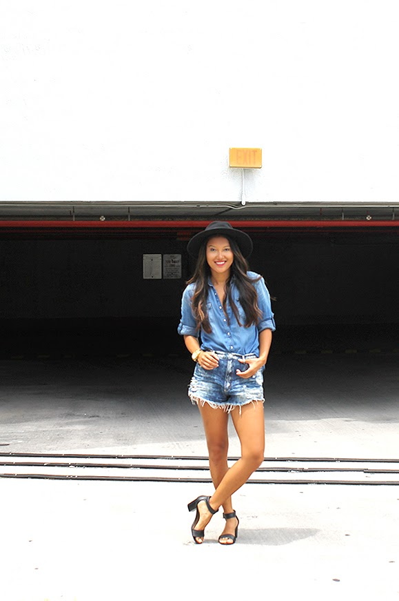 outfit of the day, fashion blogger, miami fashion blogger, all denim look, head to toe denim, mavi denim shirt, garage denim shorts, block heel sandals, teen vogue, seventeen, lucky magazine, popsugar, black fedora, asos hat, tahari sandals, guess gold watch, style by lynsee