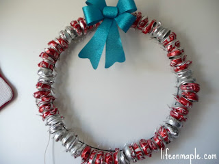 Christmas wreath with soda cans