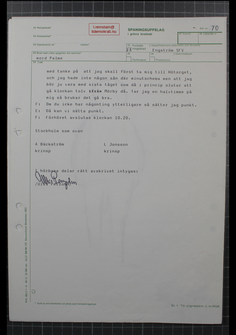 Stig Engström Palmemordet 29
