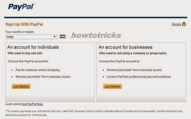 How to create paypal account in india without credit card image