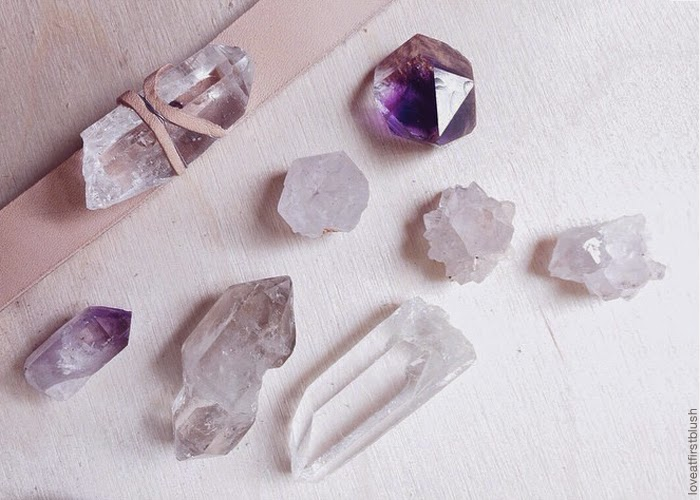 crstal quartz and amethyst gemstones