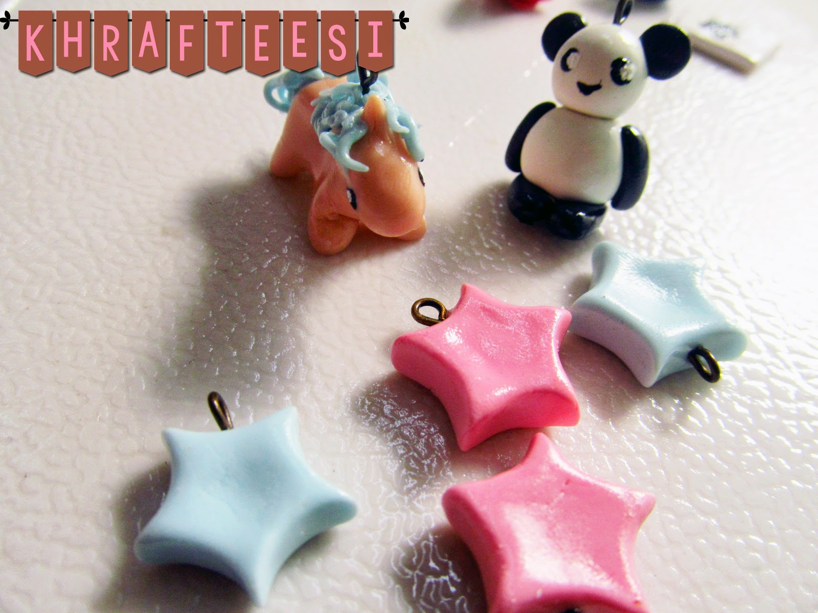 Unicorn and Panda Charm pastel stars