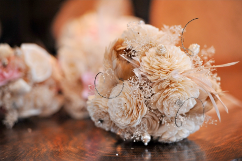 shabby chic bouquet sola dried paper flowers