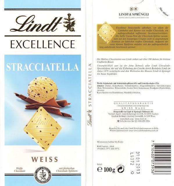 tablette de chocolat blanc gourmand lindt excellence stracciatella