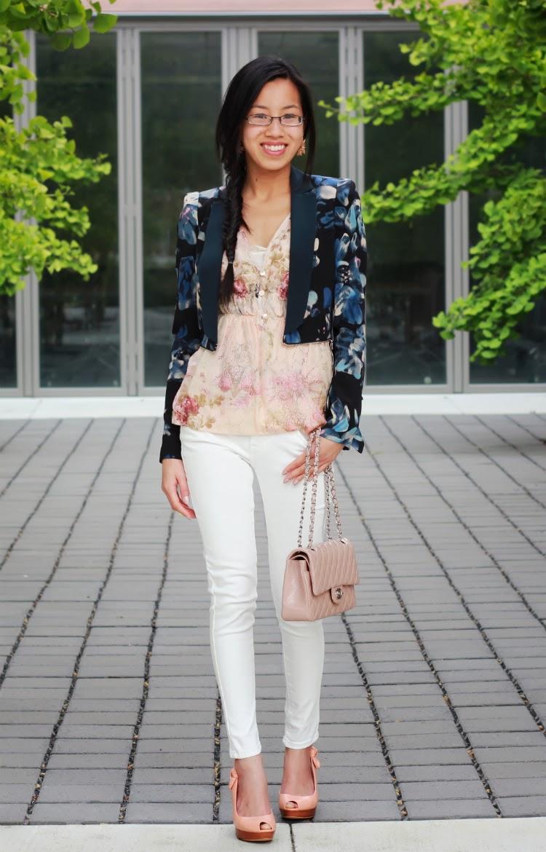 navy floral rebecca taylor hawaii zip blazer printed blush lace white denim