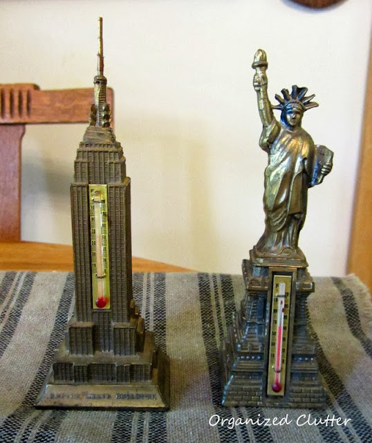 Vintage Metal Souvenirs Empire State Building and Statue of Liberty
