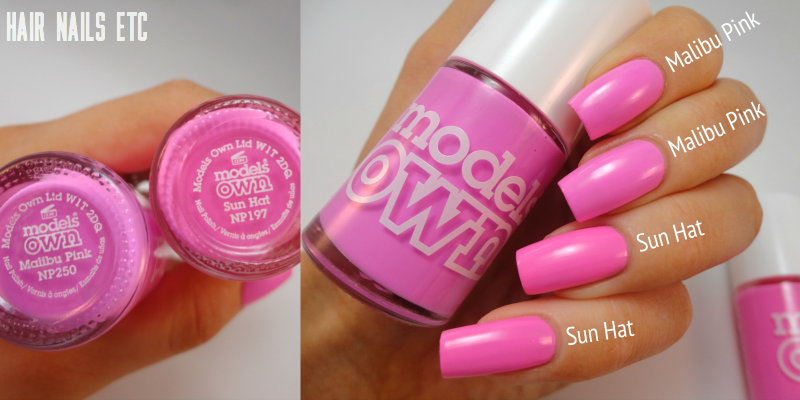 Malibu Pink - Models Own - Polish for Tans 2 Collection Summer 2015 - Comparison with Sun Hat - www.hairnailsetc.com