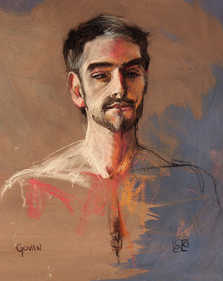 portrait, charcoal and chalk on gessoed paper, by Shannon Reynolds