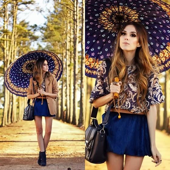 Adorable Patterned Blouse with Dark Blue Mini Skirt, Stylish Mustard Jacket, Heeled boots, Black Long Bag and Amazing Umbrella