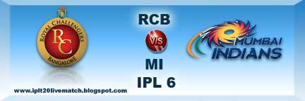 IPL Season 6 RCB vs MI Live Score and Live Streaming Video