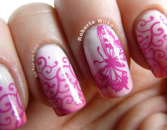 Pink Ombre Butterfly Nails