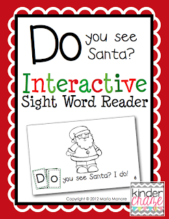"""Do you see Santa"" emergent reader for sight word practice, $1"