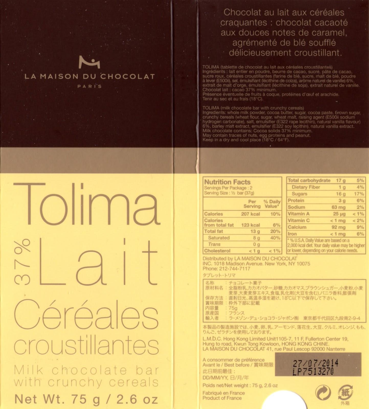 tablette de chocolat lait gourmand la maison du chocolat tolima lait céréales croustillantes 37