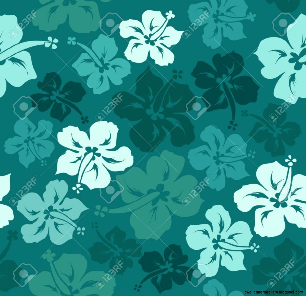 Hawaiian Fl Seamless Pattern Of Hibiscus Royalty Free Cliparts
