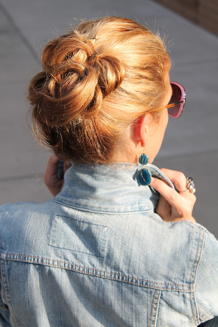 Gap Denim Jacket, ASOS Dress, Steve Madden Heels, Bauble Bar Earrings, Blinde Sunglasses, Vintage jewelry, Hair by BLo ouT
