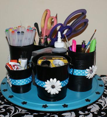 Diy desk organization on pinterest tin cans organizers - Lazy susan desk organizer ...