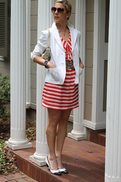 Red and White Striped Dress, White Banana Republic Blazer, Vintage Pumps, Blinde Sunglasses, Coach purse,