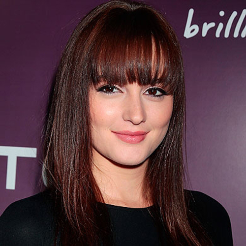 Leighton Meester fringe hairstyle - Sleek and Straight