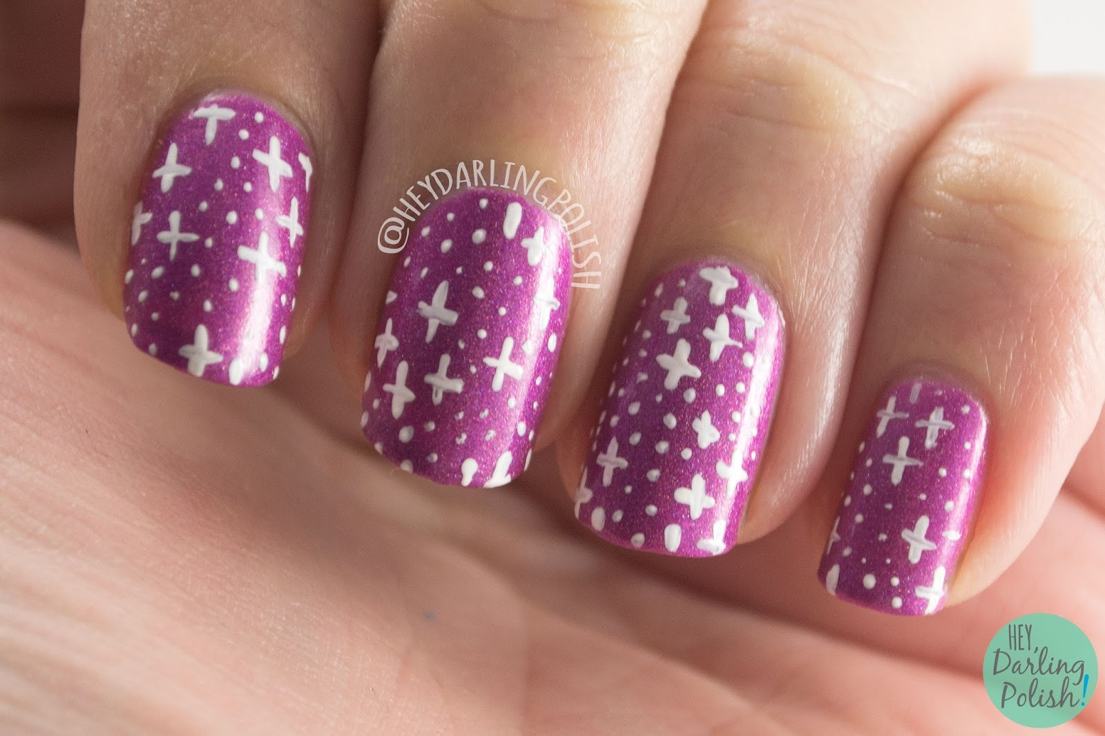 nails, nail art, nail polish, hey darling polish, ice polish, indie polish, valentines, do ya love me, pink, purple, holo, stars, pattern