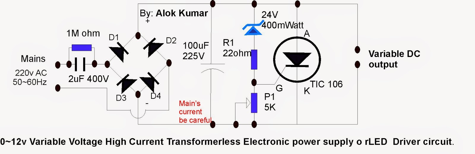 Circuit Diagram Variable Power Supply Using 7805 Electronic Circuits Transformerless Led Drivers