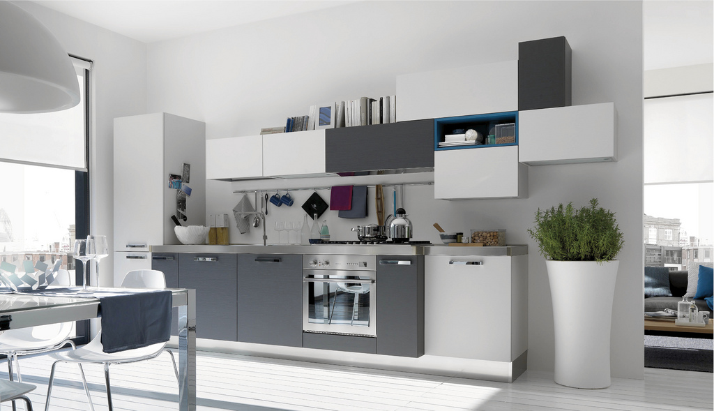 Cuisine design blanche et grise for Cuisine grise design
