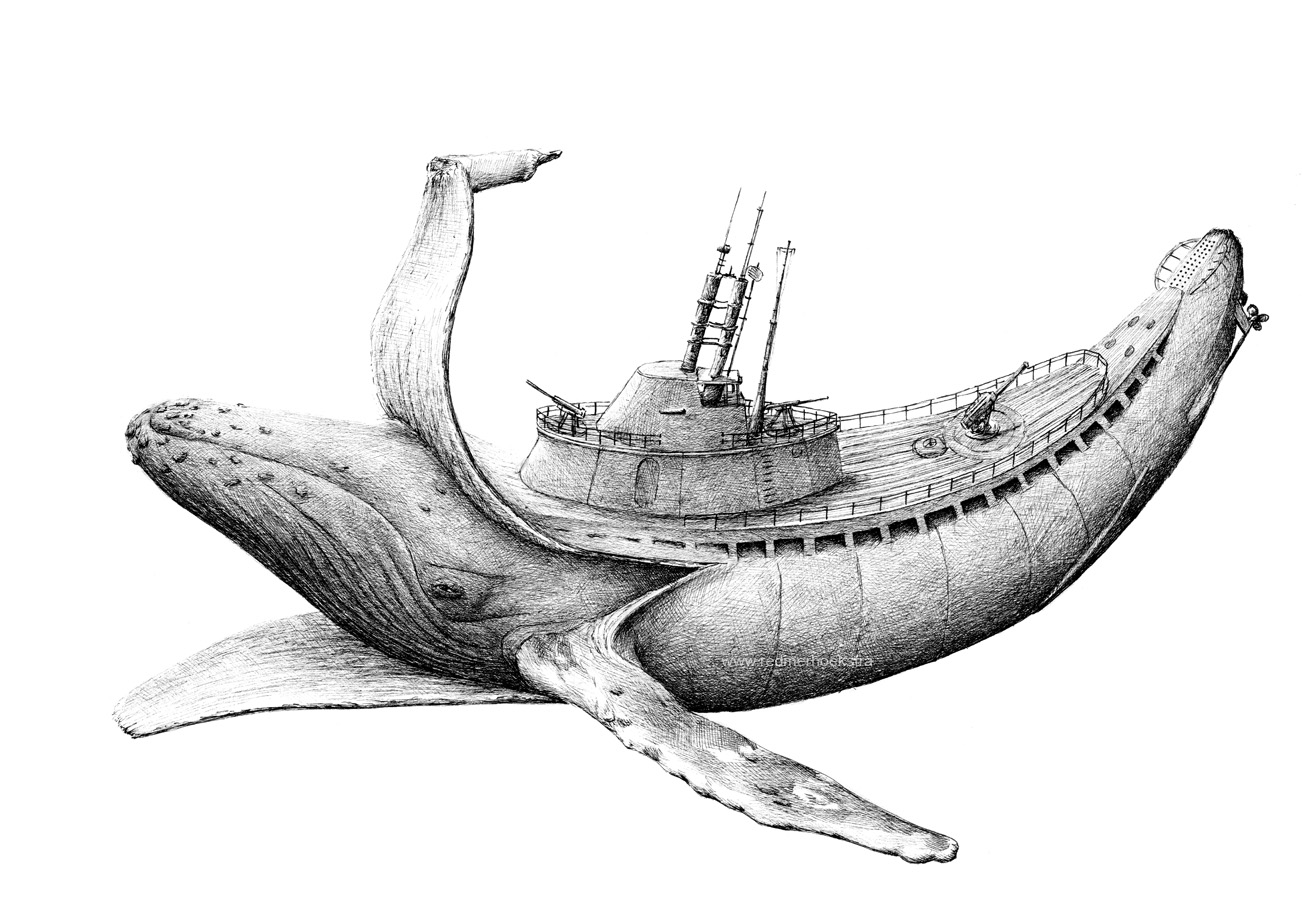 15-Banana-Whale-Submarine-Redmer-Hoekstra-Drawing-Fantastic-and-Surreal-World-of-Hoekstra-www-designstack-co