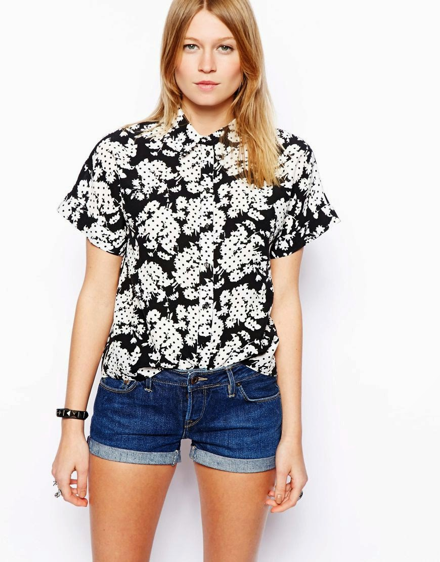 black and white short sleeved shirt