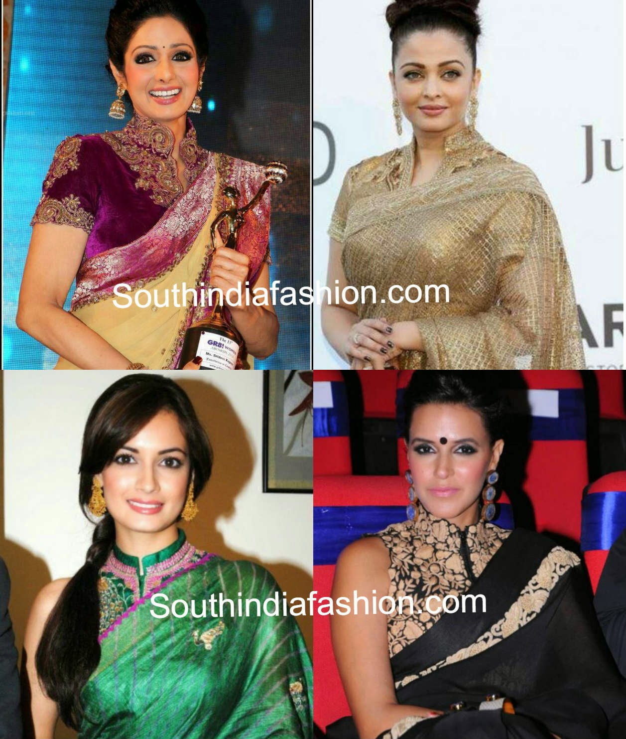 bollywood actress collar neck blouses