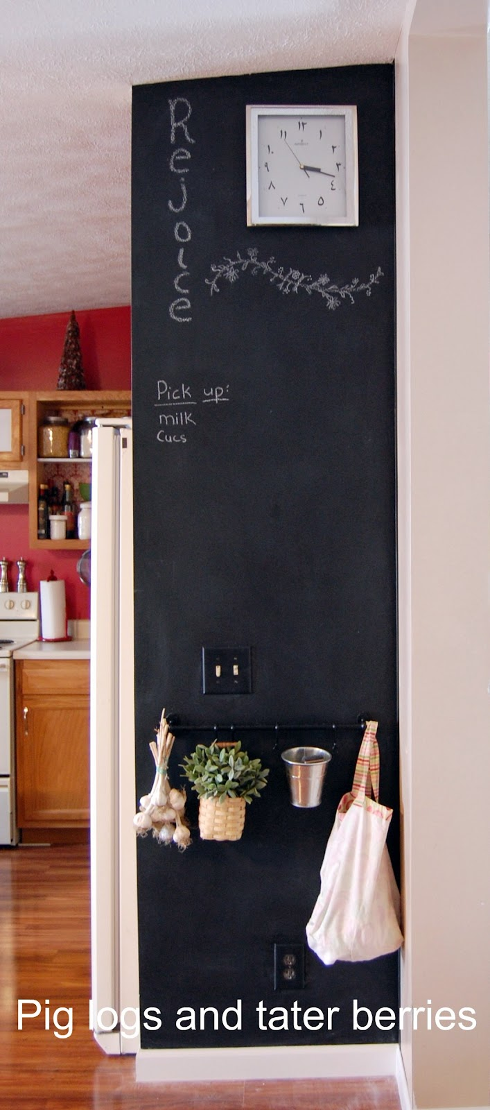 pig logs and 39 tater berries chalkboard wall. Black Bedroom Furniture Sets. Home Design Ideas