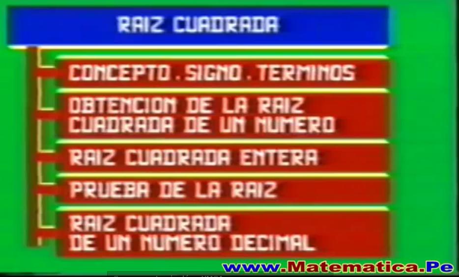 LA RAIZ CUADRADA