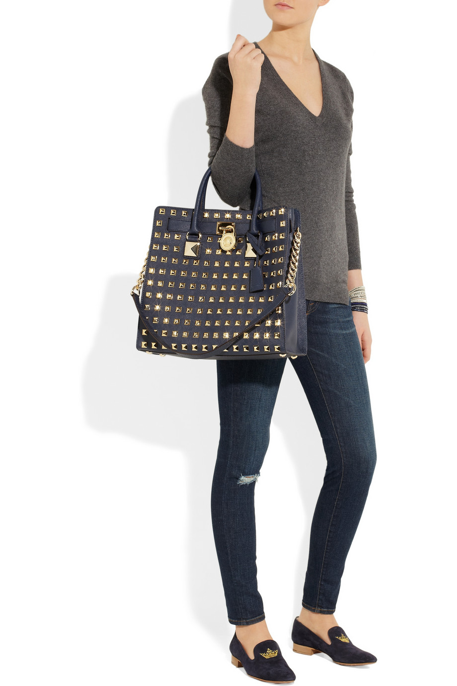 Must Have. Michael Kors Black Hamilton Tote, Plain or Studded