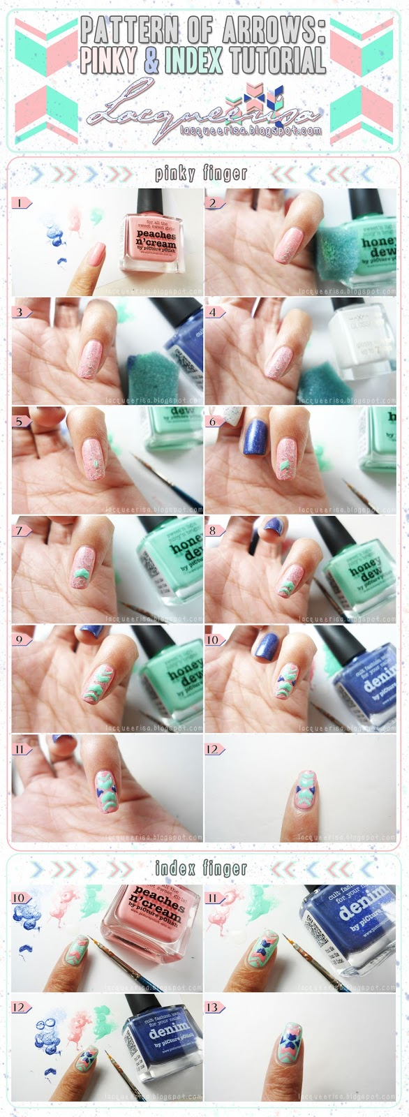 piCture pOlish Blog Fest 2013: Pattern of Arrows (Pinky and Index Finger Tutorial) by Lacqueerisa